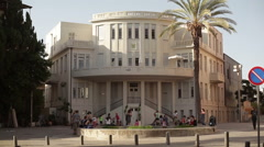 Old municipality of Tel-Aviv, white city architecture Stock Footage