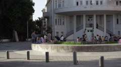 Old architecture buildings in Tel-Aviv Stock Footage