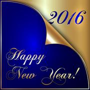 Vector illustration of 2016 new year gold and dark blue greeting with curled Stock Illustration
