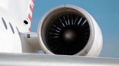 Closeup of airplane engine, working jet turbine Stock Footage