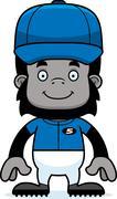 Stock Illustration of Cartoon Smiling Baseball Player Gorilla