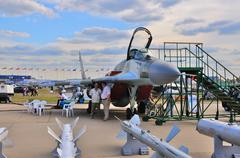 MOSCOW, RUSSIA - AUG 2015: fighter aircraft MiG-29 Fulcrum prese Stock Photos
