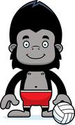 Stock Illustration of Cartoon Smiling Beach Volleyball Player Gorilla