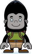 Stock Illustration of Cartoon Smiling Hiker Gorilla