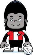 Cartoon Smiling Volleyball Player Gorilla Stock Illustration
