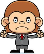 Cartoon Angry Businessperson Monkey - stock illustration