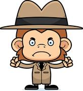 Cartoon Angry Detective Monkey - stock illustration