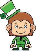Cartoon Smiling Irish Monkey Stock Illustration