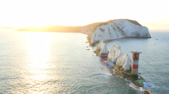 Aerial Drone Isle of Wight Needles Alum Bay tourism Stock Footage