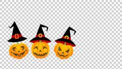 Halloween Jack O-lantern animation- isolated,Alpha channel Stock Footage