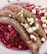 Flank Steak with Beet Salad - stock photo