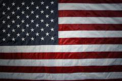 Closeup of American flag stars and stripes - stock photo