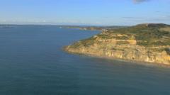 Aerial Drone Needles Alum Bay UK tourism travel Landmark - stock footage