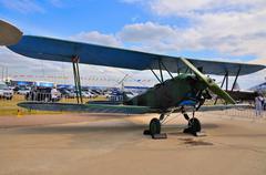 MOSCOW, RUSSIA - AUG 2015: general-purpose Soviet biplane Po-2 U Stock Photos