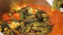 Bamia in Tomato Sauce Stock Footage