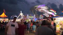 Midway Rides during Blue Hour - stock footage