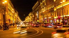 St.Petersburg. Nevsky prospekt in the night. timelapse Stock Footage