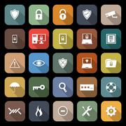 Security flat icons with long shadow Stock Illustration