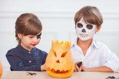 Cheerful children are ready to celebrate Nut-Crack Night - stock photo
