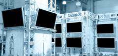many plasma panels - stock photo