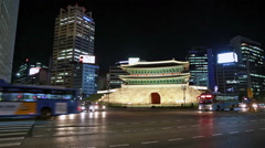 Traffic around Namdaemun gate in Seoul Stock Footage