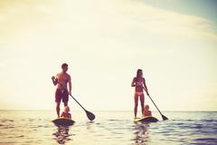 Family Fun, Stand Up Paddling - stock photo