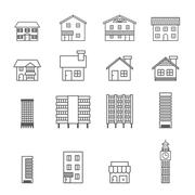 building icon.line vector - stock illustration