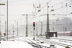 snowfall at the train station in Wiesbaden - stock photo