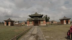 Small ancient Buddhist temple complex of the general plan Stock Footage