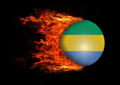 Stock Illustration of Flag with a trail of fire - Gabon