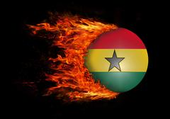 Stock Illustration of Flag with a trail of fire - Ghana