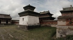 A little old Mongolian Buddhist temple complex of ancient monastery Stock Footage