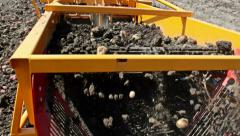 Potato harvester in the field Stock Footage