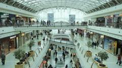 People in shopping mall Vasco da Gama in Lisbon Stock Footage