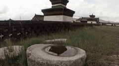 Elements of the temple complex of buildings, old walls and roof Buddhist shrines Stock Footage