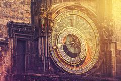 Astronomical Clock on Prague Old Town Square Stock Photos