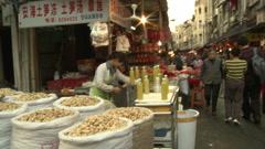 Street food market, Xiamen, China Stock Footage