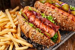 Barbecue grilled hot dog - stock photo