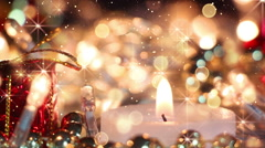 Stock Video Footage of candle and glitter particles loopable christmas background
