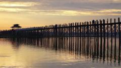 Ubein Bridge at sunrise, Mandalay, Myanmar Stock Footage