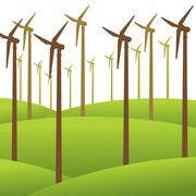 Wind mill renewable energy background vector Piirros