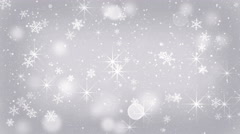 Silver snowflakes and stars falling seamless loop 4k (4096x2304) Stock Footage