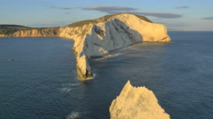Aerial Drone Needles UK sea Helipad tourism Stock Footage