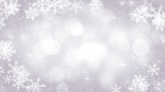 Silver snowflakes frame loopable background Stock Footage