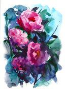 Watercolors rose Stock Illustration