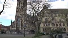 Duisburg city hall and Salvator church - stock footage