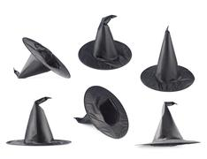 Black pointed cone shaped hat - stock photo