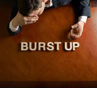 Phrase Burst Up and devastated man composition Stock Illustration