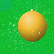 Golden christmas ball on green background Stock Illustration