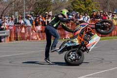 Motorcycle Stunt Rider - Wheelie Stock Photos